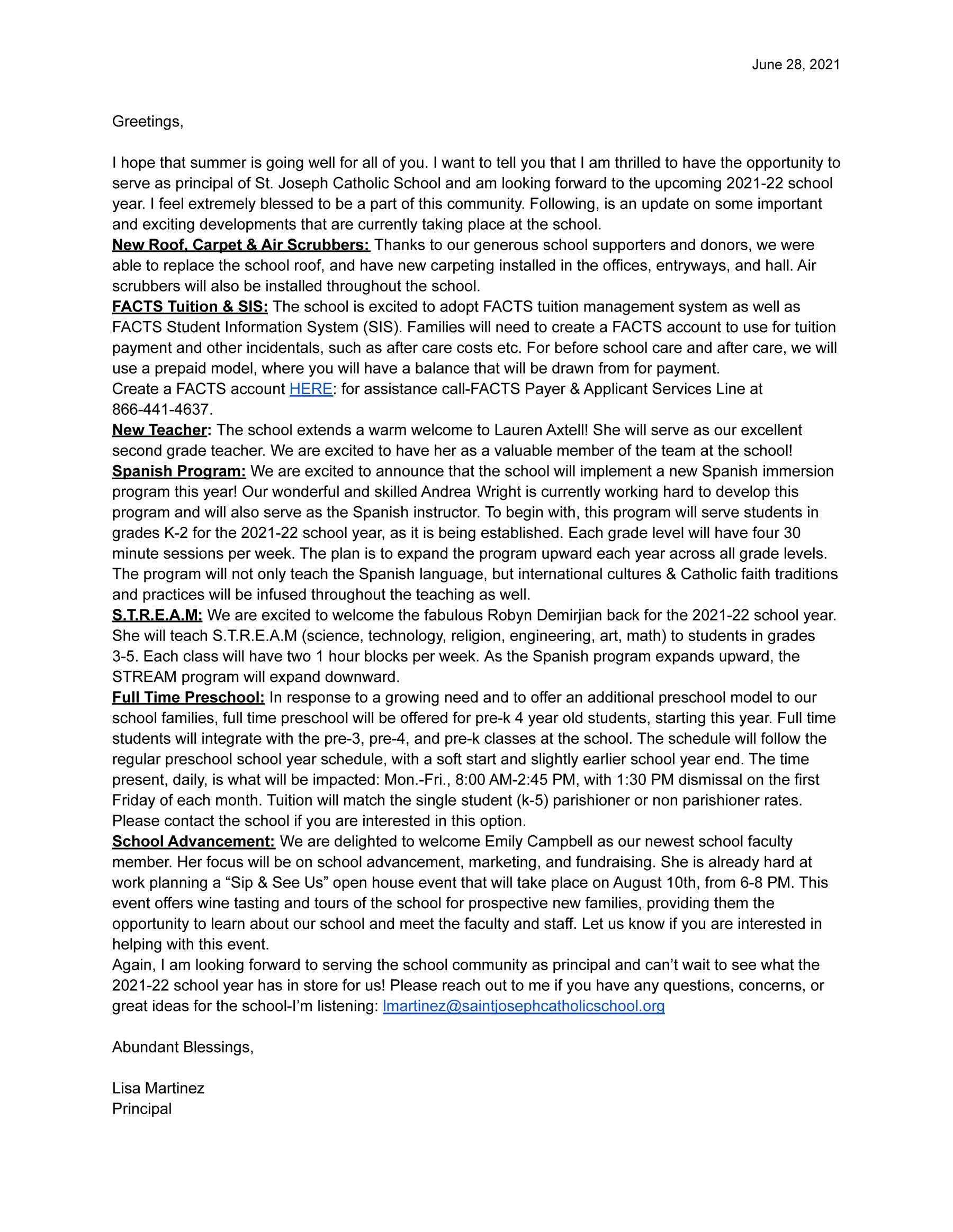 Parent Letter Summer 2021